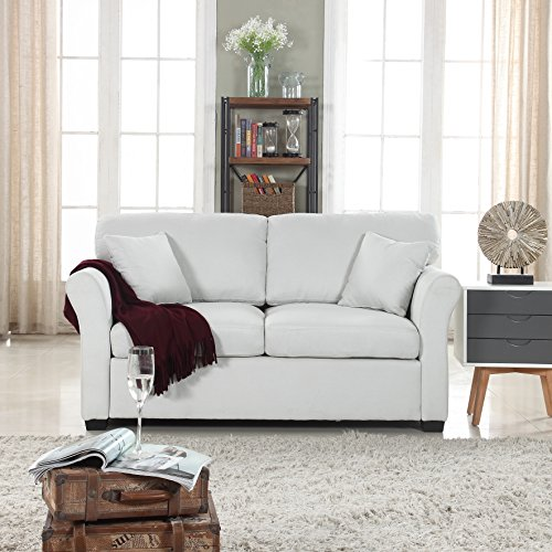 DIVANO ROMA FURNITURE Classic and Traditional Ultra Comfortable Linen Fabric Loveseat - Living Room Fabric Couch (Beige)