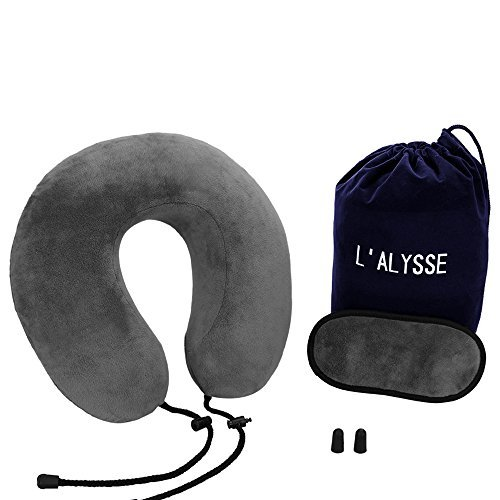 Neck Pillow-Memory Foam Airplane Travel Pillow - with Eye Mask, Earplugs and A Travel pouch Included (Grey)