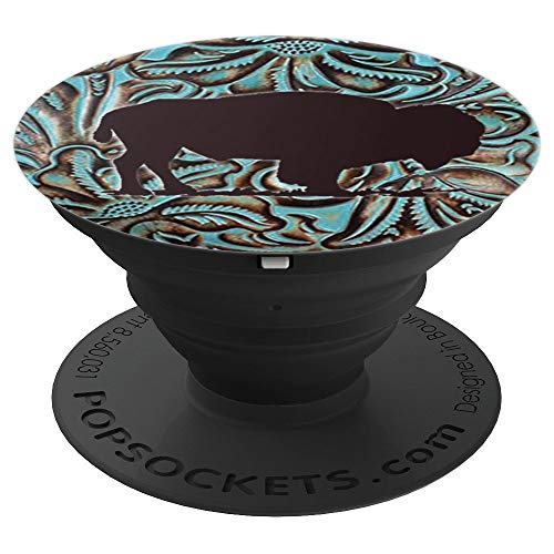 (Turquoise And Chocolate Tooled Leather Print with Buffalo - PopSockets Grip and Stand for Phones and Tablets)
