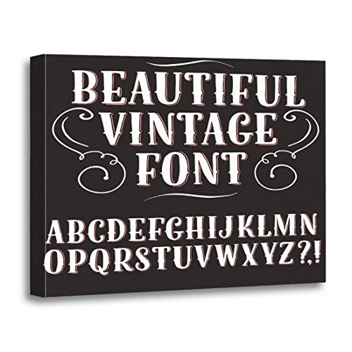 (Tinmun Painting Canvas Artwork Decorative Hand Vintage ABC Letters on Dark Beautiful Old Doodle Wooden Frame 12x16 inches Wall Art for Home)