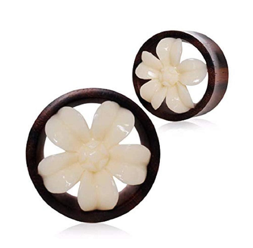 Freedom Fashion Organic Buffalo Bone Flower Blossom Sono Wood Tunnel Plug Sold by Pair
