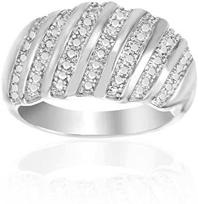 Lumineux Diamond Womens Diamond Accent Diagonal Stripes Wide Ring, White Gold & Rhodium Plated Brass