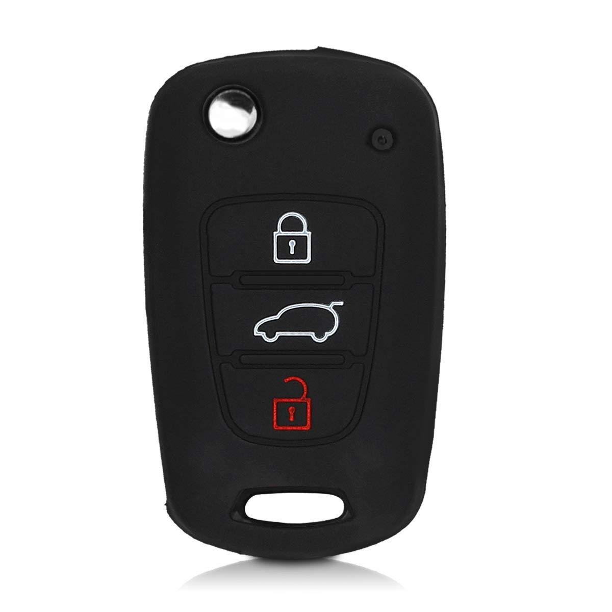 Carcasa Protectora Silicona de Rojo kwmobile Funda de Silicona para Llave Plegable de 3 Botones para Coche Hyundai - Case Mando de Auto Suave