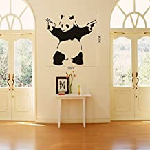 """23.6"""" X 45.3"""" Large Cool Crazy Panda Gun Shooting Wall Stickers Decals DIY Removable Wall Mural Decor Graphic Lovely Silhouette Art for Baby Nursery Teen Girls Boys Kids Children Bedroom Living Room Decoration Olivia Black"""