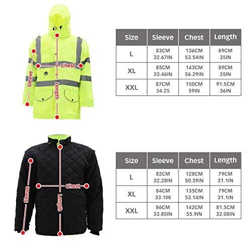 Holulo Waterproof 7-in-1 Reflective Class 3 Safety Parka Jacket with Zipper and Pockets Size XL by Holulo (Image #8)