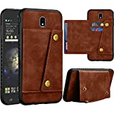 Njjex Galaxy J7 2018 Wallet Case/Samsung J7 Refine/J7 V 2nd/J7 Aero/J7 Aura/J7 Top/J7 Crown/J7 Eon/J7 Star Case, Leather ID Credit Card Slot/Holder Snap Buttons Clousure with TPU Frame Case [Brown]