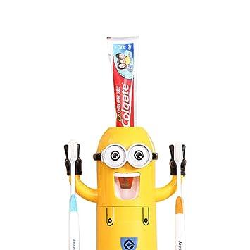 Minion cepillo de dientes dispensador Despicable Me - Vaso para cepillos de dientes automático dispensador de pasta de dientes exprimidor para niños por ...