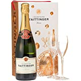 Taittinger Brut Reserve Non Vintage Champagne and Glasses Gift Set, 75 cl