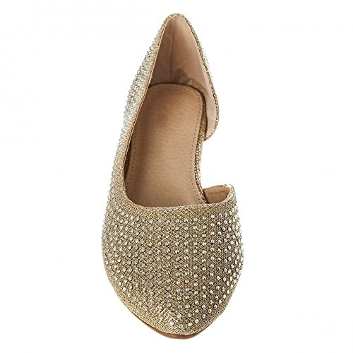 Womens Ladies Flat Ballerina Shoe With Cut Out Sides And Coloured Stones Gold MeZad