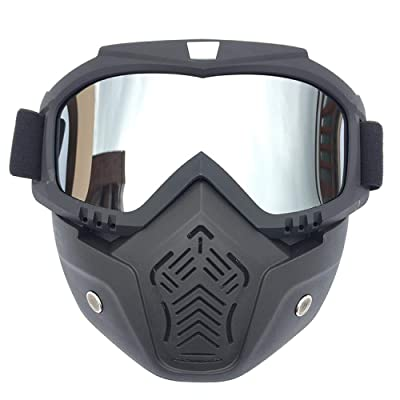 Home bathroom products Cycling Goggles, Retro Harley Helmet Goggles, face mask Goggles, Motocross Riding, Black Frame, Horizontal Chin, Mercury Film : Sports & Outdoors