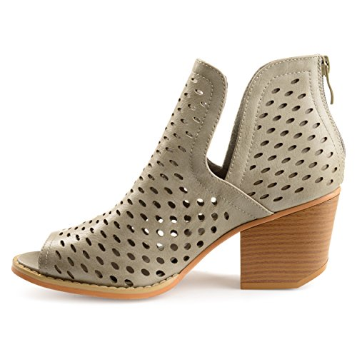 Abrail Womens Faux Open Leather Stone Side Co Booties Toe Perforated Slit Brinley qAEngTSfW