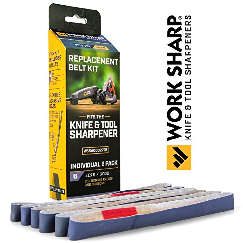 Official Work Sharp Knife & Tool Sharpener Fine 6000 Grit Replacement Belt Kit by Work Sharp