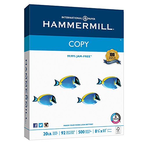 Hammermill Paper, Copy Paper Poly Wrap, 20lb, 8.5 x  11, Letter, 92 Bright, 500 Sheets / 1 Ream (180400R), Made in the USA