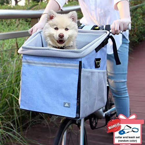 RAYMACE Dog Bike Basket Bag with Reflective Stripe Pet Bicycle Booster Carrier for Puppy or Small Breeds Travel with Your Pet Safety from RAYMACE