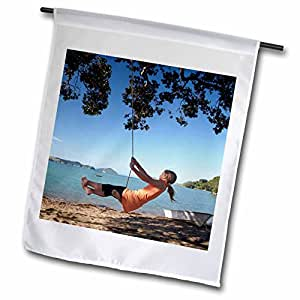 Danita Delimont - Family Fun - Girl, Rope Swing, Family Fun, North Island, New Zealand -AU02 DWA6229 - David Wall - 12 x 18 inch Garden Flag (fl_71746_1)