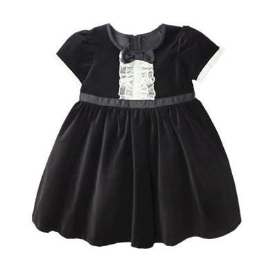 Amazon.com: Harajuku Mini Toddler Girls Black Velvet Party Dress ...