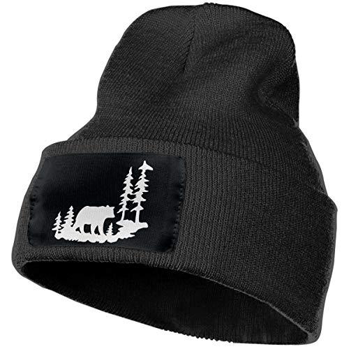 WWTBBJ-B Woodland Bear Forest Mens & Womens Adult Unisex Driver Wool Cap Black