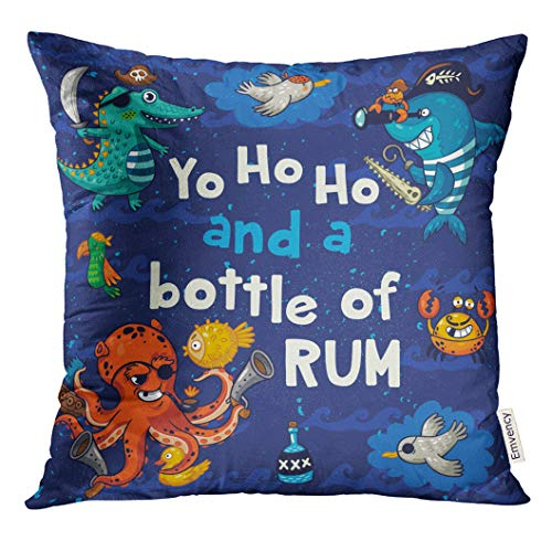 UPOOS Throw Pillow Cover Cute Ahoy Yo Ho Pirate with Crocodile Octopus Shark Funny Baby Decorative Pillow Case Home Decor Square 20x20 Inches Pillowcase