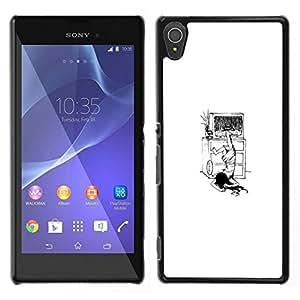 // PHONE CASE GIFT // Duro Estuche protector PC Cáscara Plástico Carcasa Funda Hard Protective Case for Sony Xperia T3 / The Ring Girl - Funny /