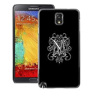 A-type Arte & diseño plástico duro Fundas Cover Cubre Hard Case Cover para Samsung Note 3 N9000 (M Initials Love Black Maggie Marie White)