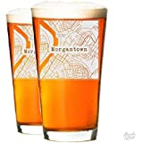 College Town Alumni Etched Map Beer Glass Set (100 Towns)