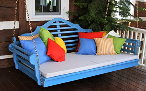 ASPEN TREE INTERIORS 6' Porch Swing Bed - Classic Lutyens Swinging Daybed - Amish Crafted in 8 Designer Color Choices - Hardware Included (Aruba Blue)