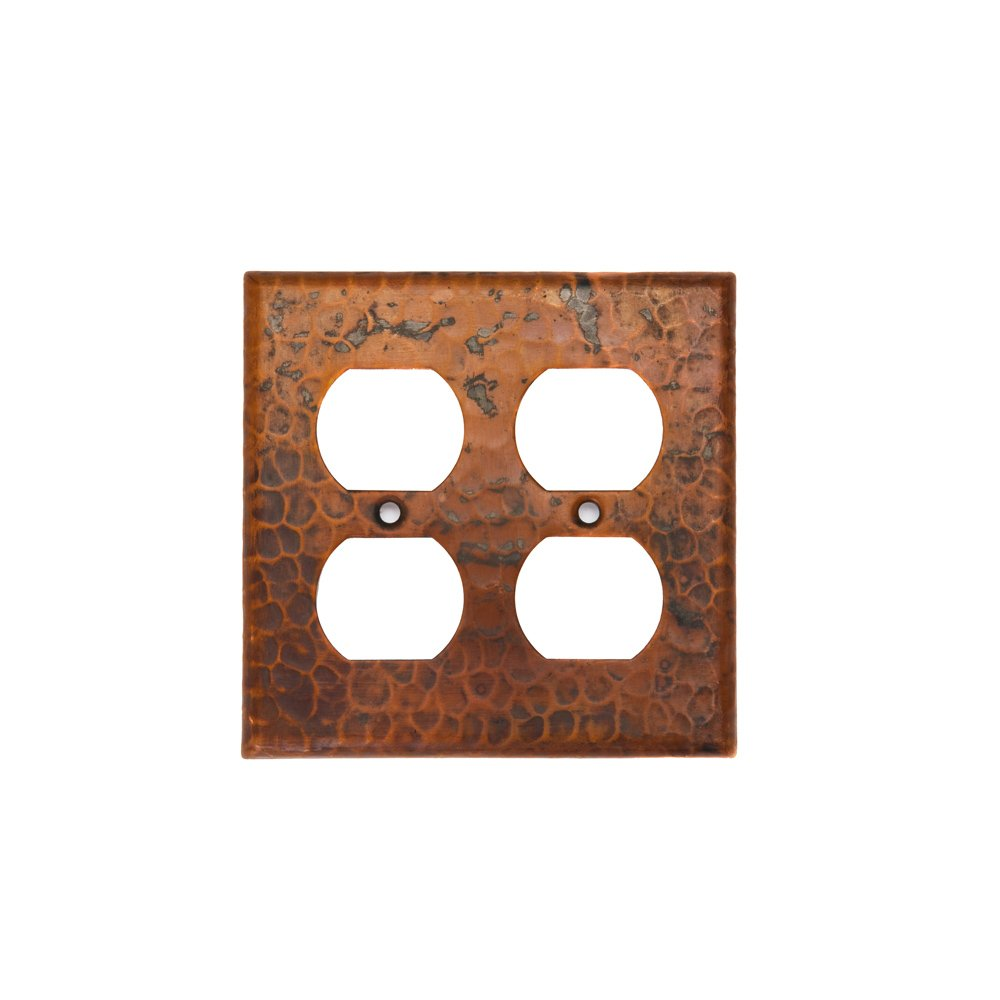 hot sale 2017 Premier Copper Products SO4 Copper Switch Plate Double Duplex with Four Hole Outlet Cover, Oil Rubbed Bronze