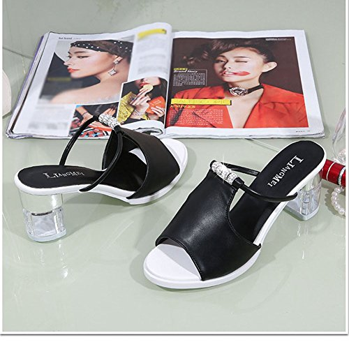 T Beach Fish Wedge Mouth Ladies Sandals JULY Fashion Summer Holiday Black Slippers Slide Spring Heel High 8w8Cx7H