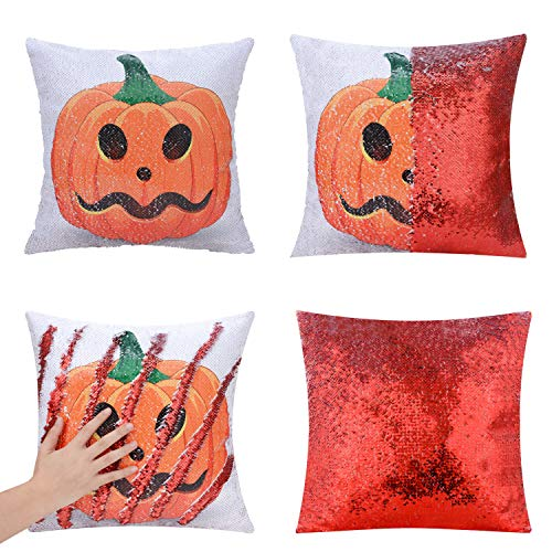 SEEKSEE Halloween Pillow Cover, Pumpkin Head Pillow Case Magic Reversible Sequin Pillow Cover Decorative Throwing Cushion Case 16 x 16 Inch (Sequins-Pumpkin-1)]()