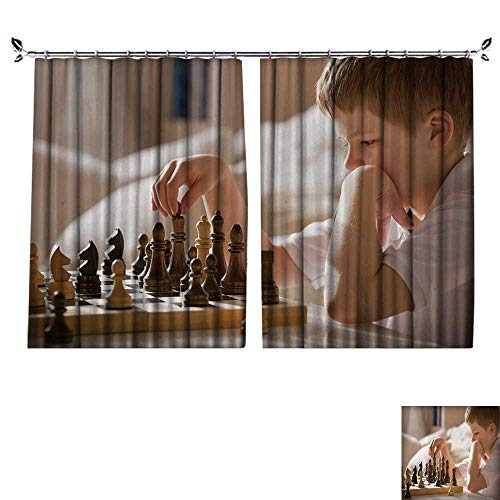 DESPKON Facial Blend Fabric high Density Boy Playing Chess in The Room Little Clever boy Concentrated and Thinking While Playing Ches Shading for Bedroom W72 x -