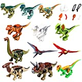 Dinosaurs Set Includes 12 Building Bricks Dinos and 9 Dinosaur Accessories, Building Party Toys Gift