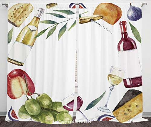 - Satin Window Drapes Curtains [ Wine,Round Frame with Hand Painted Food Objects Watercolor Wine Cheese Fruits Collection Decorative,Multicolor ] Window Curtain Window Drapes for Living Room Bedroom Dor