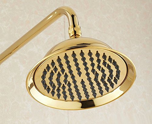 GOWE Luxury Gold Finish Bathroom Rainfall Shower set faucet Brass Round Shower Head 2