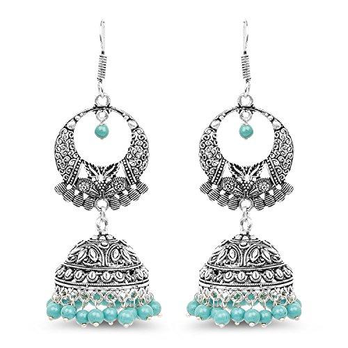 Johareez 32.09 Grams Synthetic Turquoise Oxidised Earrings