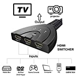 HDMI Switch splitter 3 in 1 out ports with High Speed Pigtail Cable Supports 1080P&3D, HD Audio