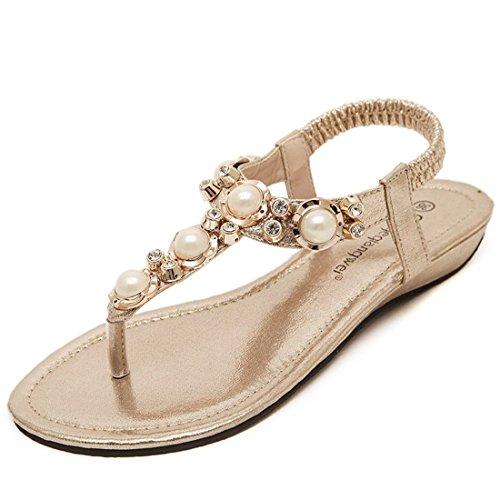 Sandalias Mujer/Sandalia con Pulsera para Mujer/Moda Mujer Zapatos de Agua de Fondo Plano de Perforación Sandalias Calzado de Playa Estudiantes. Golden
