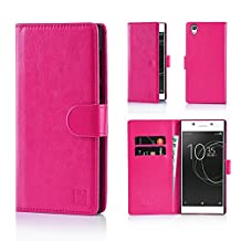 Sony Xperia XA (2016) Premium PU Leather Book Wallet Style Case Cover by 32nd - Hot Pink