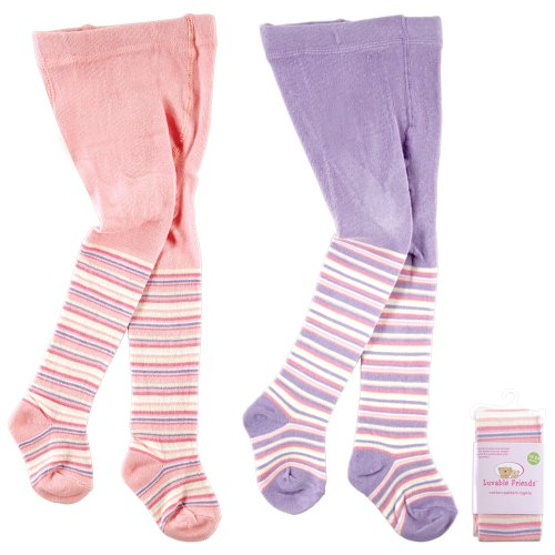 Luvable Friends Cotton Pattern Tights, Pink