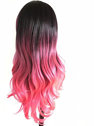 Long Curly Cosplay Wigs with Bangs Heat Resistant Wave Ombre Synthetic Handmade Full Wig For Women Daily Use and Anime Costume Party(23