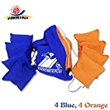 Premium Weather Resistant Official Size ACA Regulation Duck Cloth Cornhole Bags(set of 8) for Cornhole Bean Bags Toss Game,Blue & Orange,Includes Shoulder Bag