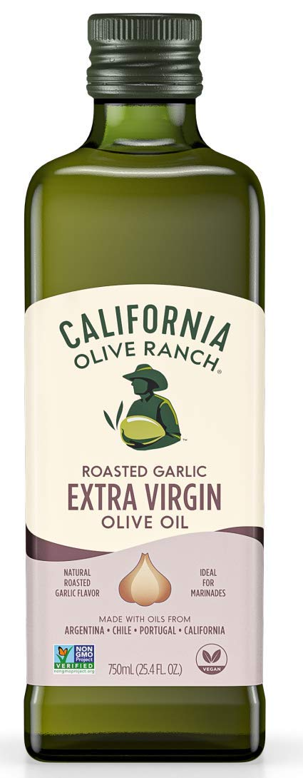 California Olive Ranch Garlic Infused Extra Virgin Olive Oil Blend - High Heat Cooking & Grilling Cold Pressed EVOO - Roasted Garlic Flavor - 750mL