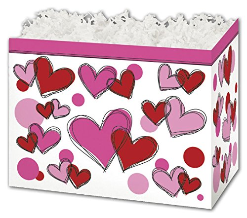 Patterned Specialty & Event Boxes - Scribbled Hearts Gift Basket Boxes, 10 1/4 x 6 x 7 1/2
