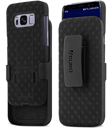 Aduro Samsung Galaxy S8 Holster Shell Case – COMBO Series, Super Slim Shell Case with Built-In Kickstand and Swivel Belt Clip Holster for Samsung Galaxy S8 (Black)