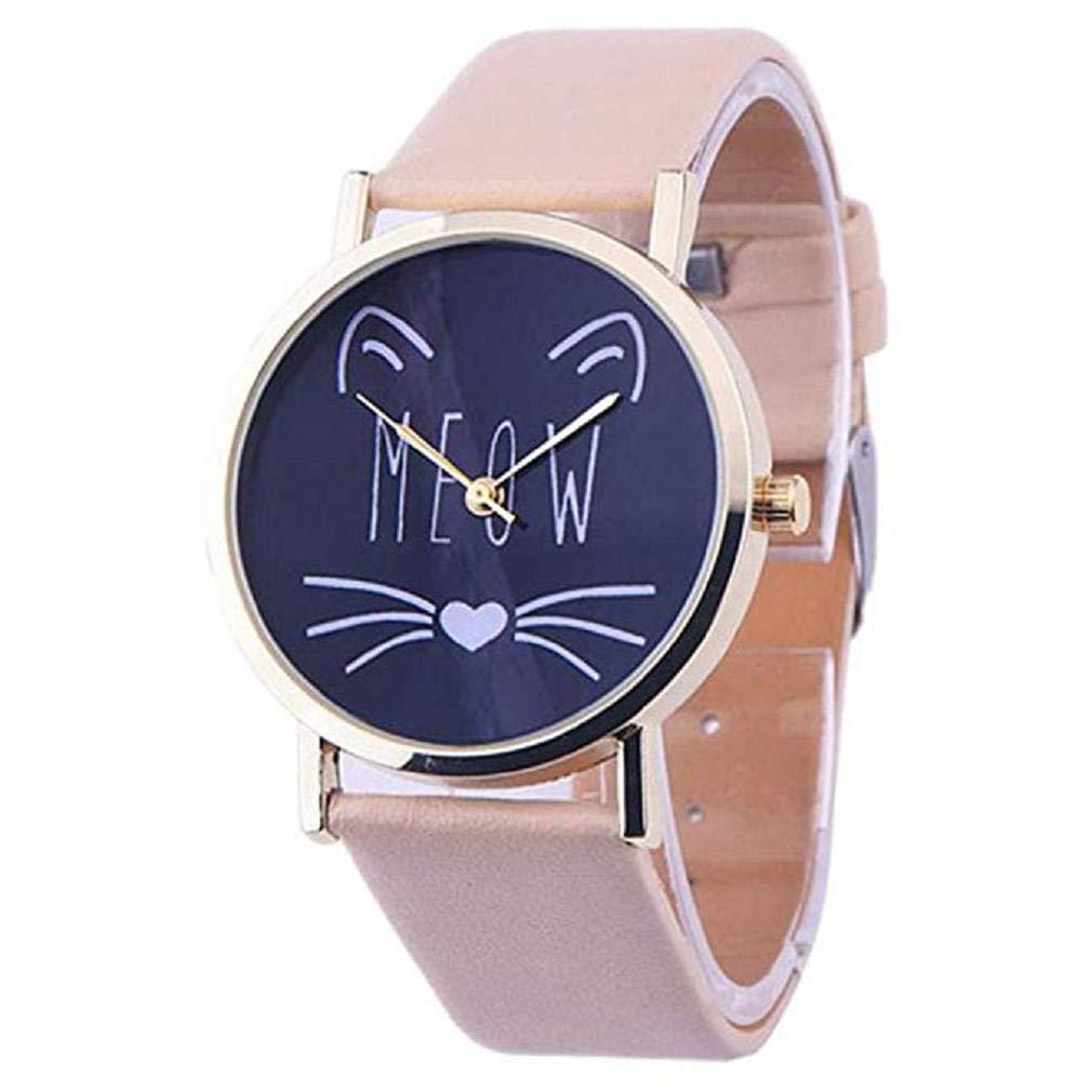 Scpink Las Mujeres del Gato Lindo patrón de liquidación señoras analógicas Relojes de Pulsera Relojes de niña de Cuero Relojes Femeninos (Rosa): Amazon.es: ...