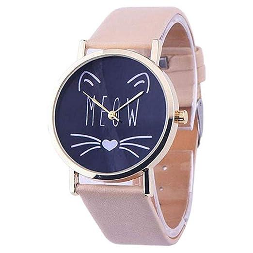 Scpink Las Mujeres del Gato Lindo patrón de liquidación señoras analógicas Relojes de Pulsera Relojes de niña de Cuero Relojes Femeninos (Beige): Amazon.es: ...
