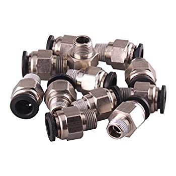 "1/4"" PT Male Thread 8mm Push In Joint Pneumatic Connector Quick Fittings 12 Pcs Ted Lele (8mm 1/4)"