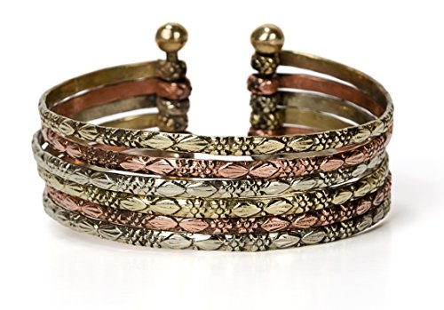 SPUNKYsoul New! Boho Metal Cuff Bangle Bracelets for Women in Silver Gold or Multi Toned Copper l Collection (Multi-Tone Small)