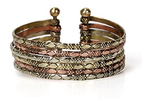 3mm Cuff (SPUNKYsoul New! Boho Metal Cuff Bangle Bracelets for Women in Silver Gold or Multi Toned Copper l Collection (Multi-Tone Small))