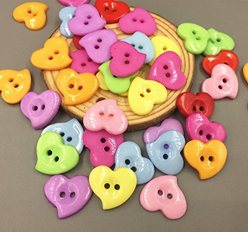 100PCS Mixed Colors Heart-shaped Resin Button Sewing Scrapbook Decorative 23mm
