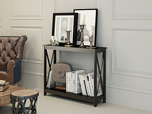 Black Finish 3-Tier X-Design Occasional Console Sofa Table Bookshelf (Sofa Table Book Shelf)